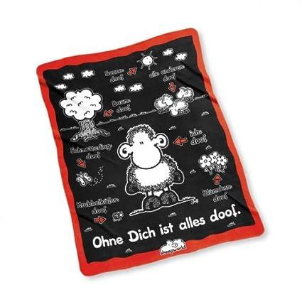 Sheepworld Decke Ohne Dich Ist Alles Doof.Sheepworld 40420 Fleecedecke Ohne Dich Ist Alles Doof Schwarz