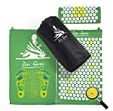 Best Acupressure Mat & Pillow Set - SALE - Effective Remedy for Pain and Stress Relief - With Magnet Therapy - FREE BONUSES: Carry Bag & Reflexology Foot Chart - LIFETIME MONEY BACK - ZenGuru (Green)