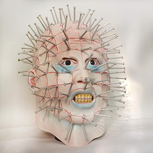 Pinhead Halloween Mask (Yuahwyehe Men's Monster Horror Hellraiser III Pinhead Mask Halloween Costume Accessory, Horror Mask, Zombie Mask, Latex Biochemical Monster Scary Mask Suit for Costume Party Halloween)