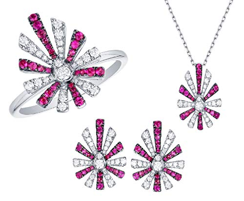 Prism Jewel 1.36Ct Ruby/SI2-SI3 & G-H/I1 Natural Round Diamond Pear Shaped Matching Jewelry Set, 14k White Gold Size 8.5 ()