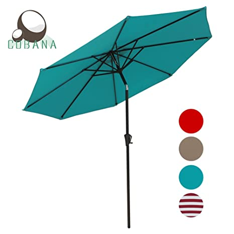 COBANA Patio Umbrella Outdoor Aluminum Table Umbrella Of 9 Feet With 8 Ribs  And Push