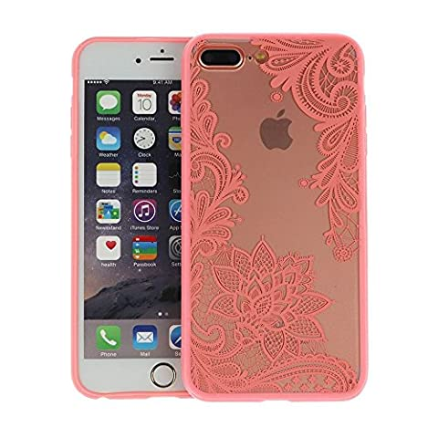 Iphone 7 Plus Case, JICUIKE [Render Print] Phone Cases Henna Paisley Datura Sexy Lace Flower Soft Border + Matte Hard Back Cover for iPhone 7 plus 5.5 Inch [Pink (Iphone 4 Case Artsy)