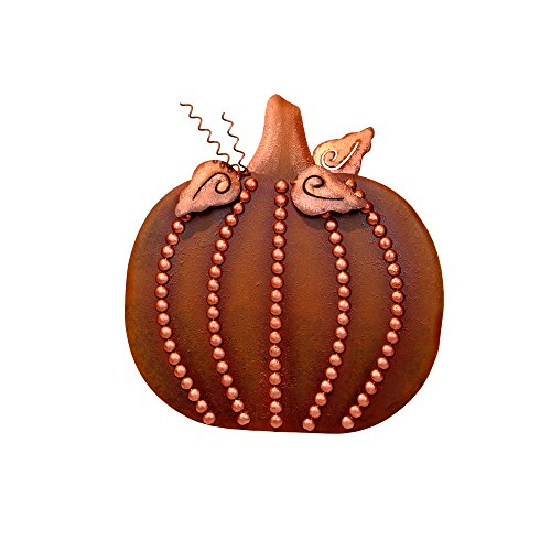 Beaded Pumpkin - The Round Top Collection Beaded Flat Pumpkin - Lg - Copper - Metal