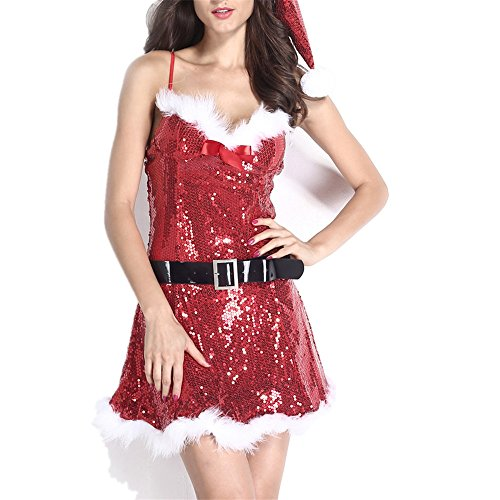 3pcs Christmas Strapless Sparkly Skater Dress Costume with