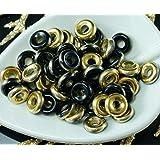 40pcs Black Gold Half Czech Glass Flat Ring Beads O Shaped Large Hole Donut 8mm