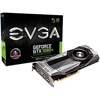 EVGA GeForce GTX 1080 Ti Founders Edition Gaming, 11GB GDDR5X, LED, DX12 OSD Support (PXOC) Graphic Cards 11G-P4-6390-KR (Renewed)