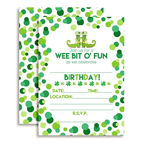 Amanda Creation St. Patrick's Day Themed Birthday Party Fill in Invitations Set of 20 with - Patricks Invitations Day