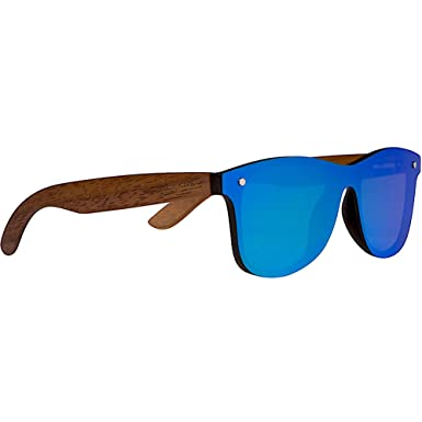 284afe32cb Image Unavailable. Image not available for. Color  WOODIES Walnut Wood  Sunglasses with Flat Blue Mirror Polarized Lens