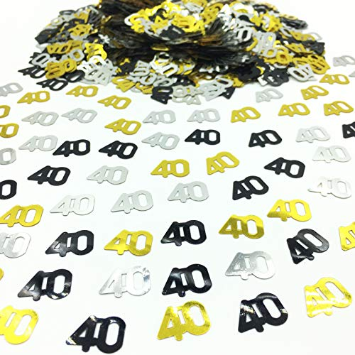 Number 40 Confetti Glitter Metallic Foil Table Party Decorations for Anniversary/Birthday/Wedding Gold Black and Silver 1.5 oz(40)