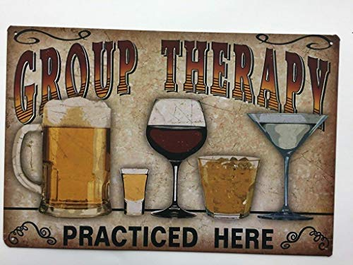 (Group Therapy Practiced Here Funny Beer Stressed Style Tin Bar Cafe Sign 12x8 TS116)