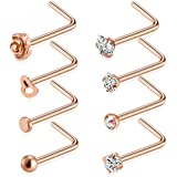 Tornito 20G 8-16Pcs Stainless Steel L Shaped Nose Ring CZ Nose Stud Retainer Labret Nose Piercing Jewelry