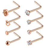#7: Tornito 20G 8-16Pcs Stainless Steel L Shaped Nose Ring CZ Nose Stud Retainer Labret Nose Piercing Jewelry