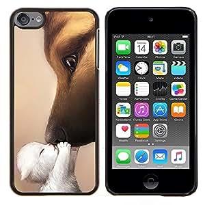 Gatito beso del amor del perro de pastor alemán- Metal de aluminio y de plástico duro Caja del teléfono - Negro - iPod Touch 6