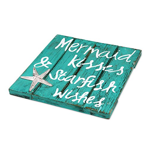 NOVICA-Wood-Sign-Mermaid-Kisses