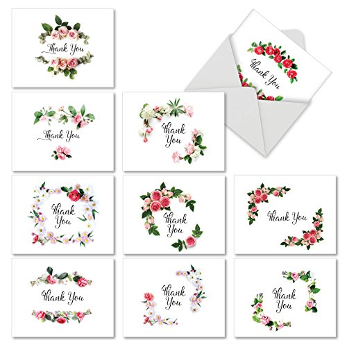 Mini Boxed Arrangement - M4175TYG-B1x10 Elegant Flowers: 10 Assorted Thank You Note Cards Featuring Script Sentiment Surrounded by Beautiful Floral Arrangements w/White Envelopes.