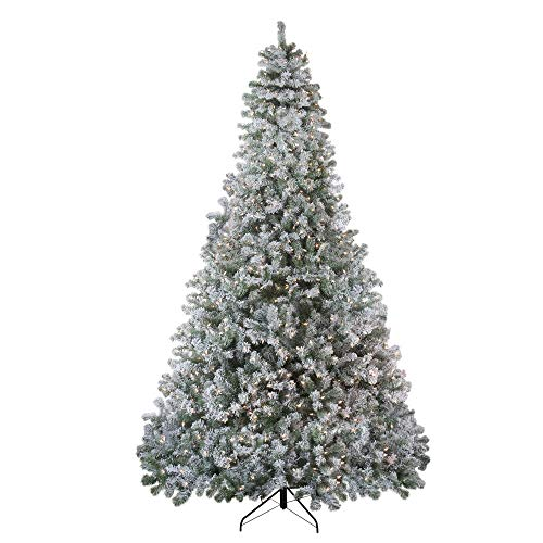 - Northlight 9' Pre-Lit Flocked Winema Pine Artificial Christmas Tree - Clear Lights
