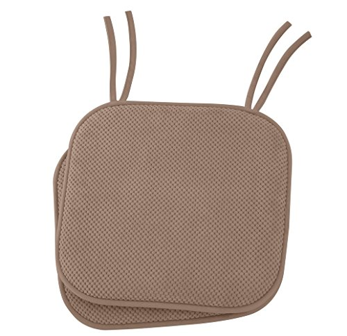 Ellington Home Non Slip Memory Foam Cushion Chair Pads With Ties - 17'' x 16'' - Set of 2 - Taupe by Ellington Home
