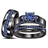 Round Cut Blue Sapphire His & Her Trio Ring Set In Black Gold Plated .925 Sterling Silver Ladies Bridal & Men Wedding Band Ring