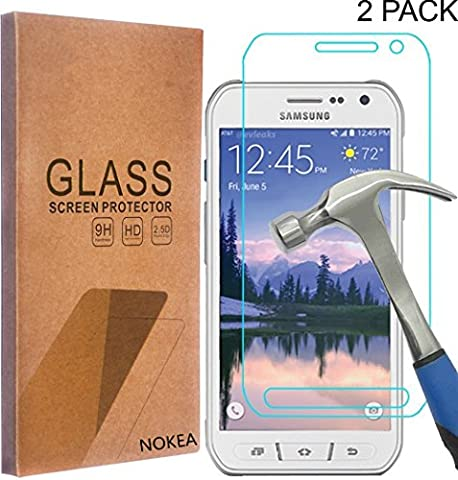 [2 Pack] Samsung Galaxy S6 Active Screen Protector, NOKEA [Tempered Glass] with [9H Hardness] [Crystal Clear] [Easy Bubble-Free Installation] [Scratch Resist] (for Galaxy S6 (Cover De Samsung Galaxy 5s)