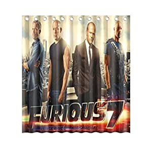 The Fast And The Furious 7 Pattern Fabric Shower Curtain, 66
