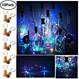 Decem 10 Pack Solar Powered Wine Bottle Lights, 10 LED Waterproof Colorful (4 colors) Copper Cork Shaped Lights for Wedding/Christmas/Outdoor/Holiday/Garden/Patio/Yard/Pathway Decor