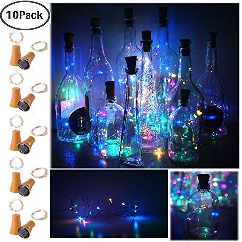 Decem 10 Pack Solar Powered Wine Bottle Lights, 10 LED Waterproof Colorful (4 colors) Copper Cork Shaped Lights for Wedding/Christmas/Outdoor/Holiday/Garden/Patio/Yard/Pathway Decor by Decem