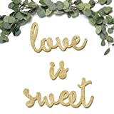 Ling's moment Sparkly Champagne Gold Glitter Love is Sweet Freestanding Wooden Letters Wedding Signs for Sweetheart Table, Candy, Dessert, or Cake Table Decoration Review