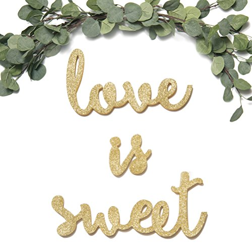 ling's moment Sparkly Champagne Gold Glitter Love is Sweet Freestanding Wooden Letters Wedding Signs for Sweetheart Table, Candy, Dessert, or Cake Table ()