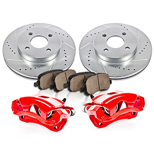 - FRONT Powder Coated Red [2] Calipers + [2] Rotors + Quiet Low Dust [4] Ceramic Pads Performance Kit