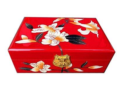 Hongge Caja Joyero,Empujar la luz Lacado Pintado a Mano joyería Caja Caja Almacenamiento Chino