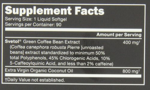 SVETOL Green Coffee Bean Extract, 90 Liquid Softgels with 400mg of Clinically-Proven Svetol Per Cap by Sports Research (Image #2)