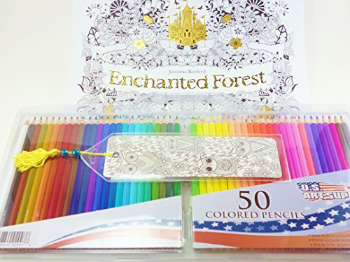 Enchanted Forest 2017 Adult Coloring Wall Calendar An Inky Quest US Art Supply 50 Artist Grade Pencils Owl Bookmark Gift Bundle