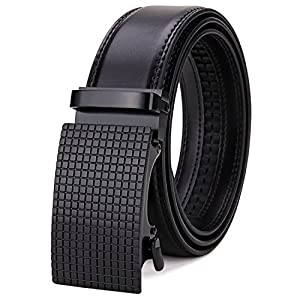 "Tonly Monders Men's 35mm Dress Leather Ratchet Belt (Waist 50""-55"" 150cm, Black)"