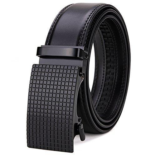 Tonly Monders Men's Dress Leather Belt Automatic Ratchet Buckle, Black, 35mm Wide 110cm 28 30 32 34 36 Inch Waist