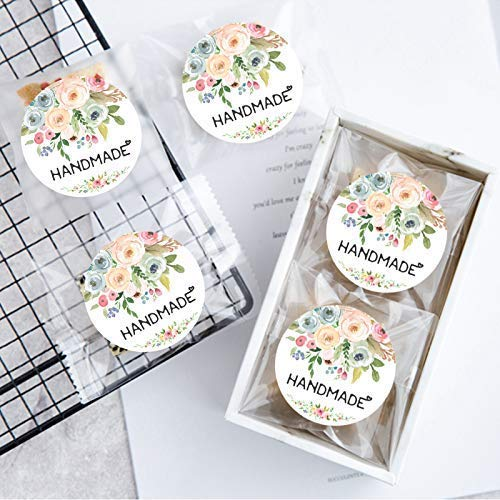 120PCS Handmade Stickers Handmade with Love Stickers Handmade Labels Packaging Stickers Handmade Flower Labels Floral Bouquets Stickers from Adamartprint