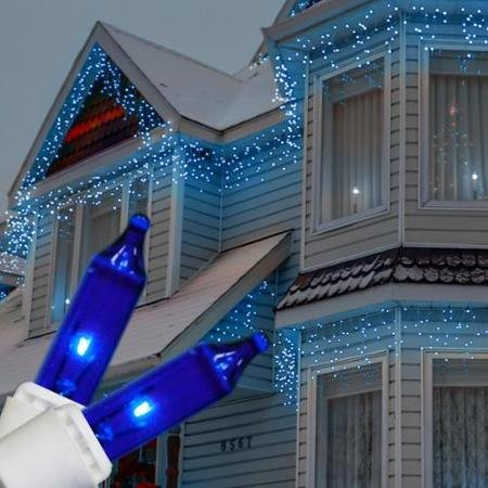 350 Count Blue LED Icicle Lights w/ White Wire - 30 Feet of Lighted Length