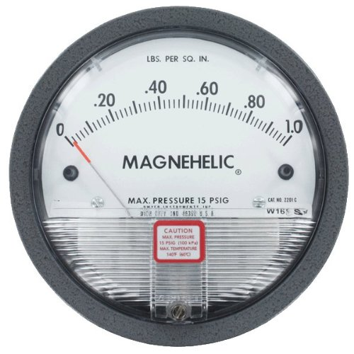 Dwyer Magnehelic Series 2000 Differential Pressure Gauge, Range 0-1 psi