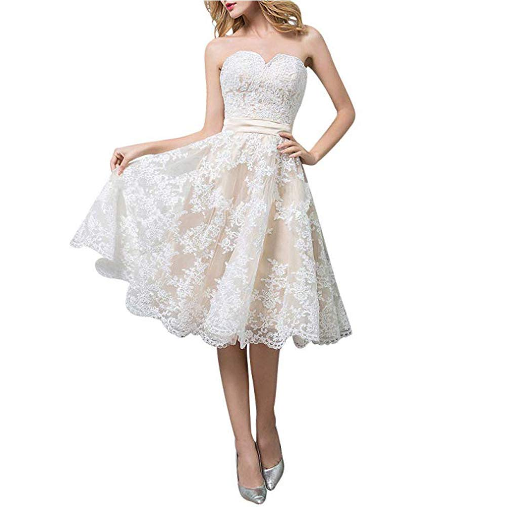 White B LiBridal Women's Sweetheart Wedding Dresses Aline Lace Beaded Bridal Gowns