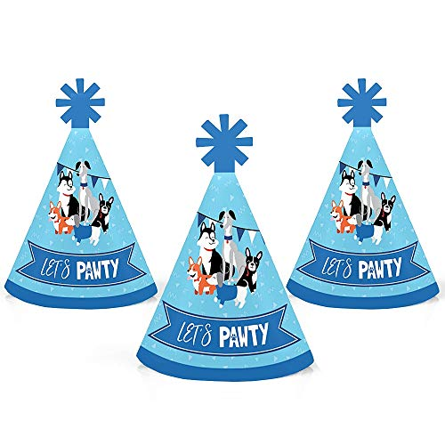 Pawty Like a Puppy - Mini Cone Dog Baby Shower or Birthday Party Hats - Small Little Party Hats - Set of -