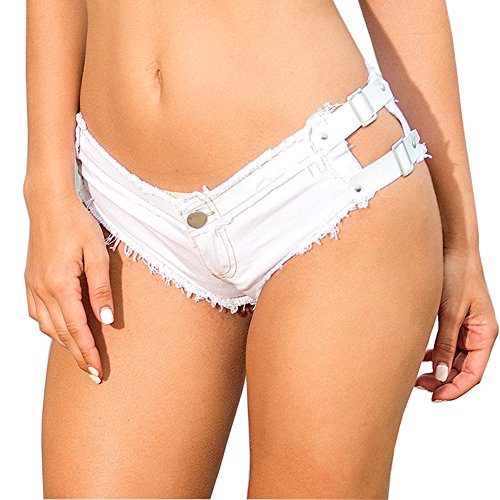 0f74c6db35 Yollmart Women s Sexy Denim Thong Cheeky Jeans Shorts Beach Hot Pants new
