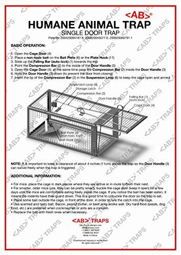 AB Traps Pro-Quality Live Animal Humane Trap Catch and Release Rats Mouse Mice Rodents and Similar Sized Pests - Safe and Effective - 10.5' x 5.5' x 4.5' Single Door