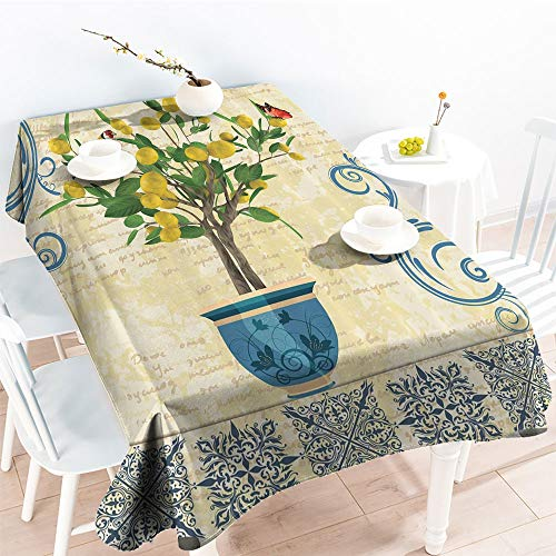 Monarch Traditional Table - Spillproof Table Lemon Tree Birds Traditional Tiles Paisley Monarch Butterfly Bird Vintage Style Floral Flowerpot Ceramic VaseKitchen Dinning Party TableclothIvory Yellow Green Blue Navy Oblong Rectan