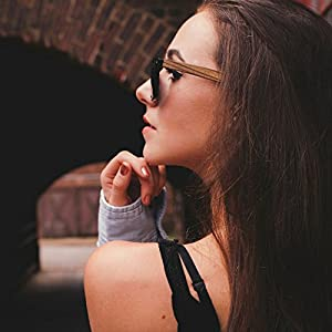 Polarized Wood Sunglasses for Men & Women with 100% UV Blocking, HD Lenses (Ebony Wood Temples | Glossy Black Front Frame | Grey High Defintion Polarized Lenses)