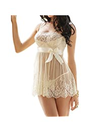 UTOVME Women's Bridal Lingerie Set, Ivory White Babydoll with Ribbon, G-String
