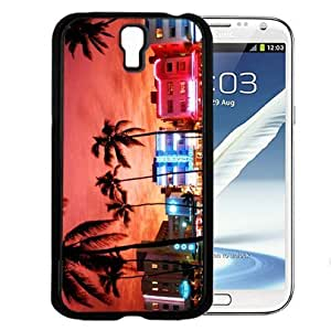 Colorful Miami City Life Buildings with Sun Setting in Background Hard Snap on Cell Phone Case Cover Samsung Galaxy S4 I9500