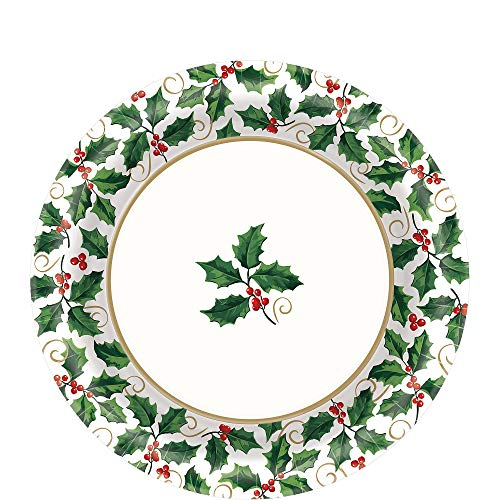 Amscan Seasonal Festive Christmas Holly Paper Plates, 40 Ct. | Party Tableware