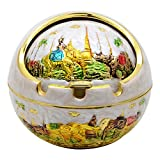 TOWOMO Vintage Wind-proof Ashtray with Lid, ride an Elephant Pattern Decorative Ash Tray Holder for Cigarettes (White, Golden Edge)