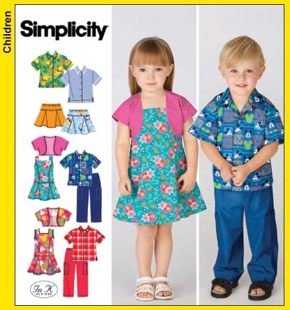 Simplicity Sewing Pattern 3856 Toddler Pants, Skirt, Jumper, Shirt & Bolero, A (1/2 1 2 3 4)
