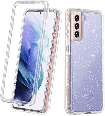 Lamcase for Galaxy S21 5G Case, Crystal Clear Glitter Sparkly Bling Heavy Duty Shockproof Hybrid Three Layer Protective Cover Case for Samsung Galaxy S21 5G 6.2 inch (2021), Clear/Silver Glitter