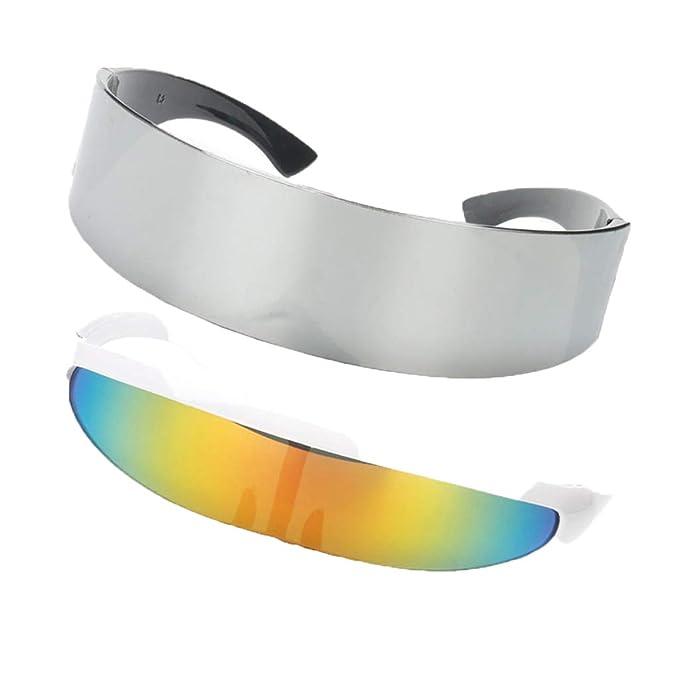 P Prettyia 2x Gafas de Sol Rainbow Color Futurista Soldado Space Alien Robot Adornos Diseño Único - Gris + Multicolor, Única: Amazon.es: Ropa y accesorios